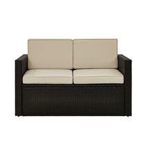 Outdoor Seating Furniture Steel Frame Wicker Loveseat with Beige Sand Cu... - $272.21