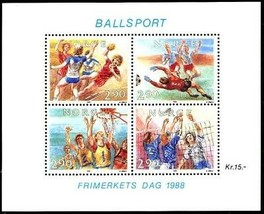 NORWAY 1988   FOOTBALL /SOCCER  S/S  MNH VOLLEYBALL BASKETBALL CV.$10.00 - $5.15