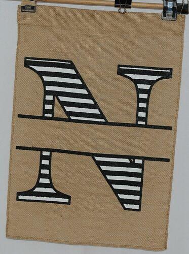 Kate Winston Brand Brown Burlap Monogram Black White N Garden Flag