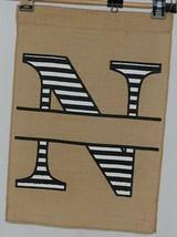 Kate Winston Brand Brown Burlap Monogram Black White N Garden Flag image 1