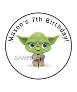 """30 Baby Yoda Personalized Birthday Party Stickers Favors Labels round 1.5"""" - $8.99"""