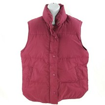 Eddie Bauer Goosedown Womens M Puffy Vest Jacket Red Sleeveless Insulated - $28.99