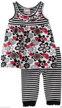Nannette Baby Girls 2 Pc Striped/Floral Dress & Leggins Set,Sz.12,18 Mon... - $15.99