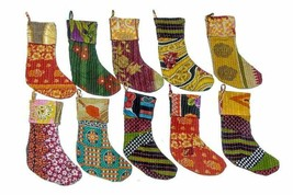 Indian Handmade Vintage Kantha Quilt Christmas Stockings Hippie Hanger S... - $48.99