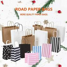 Road 5.25 x 3.25 x 8 Inches 100pcs Black Kraft Paper Bags with Handle, Shopping  image 4