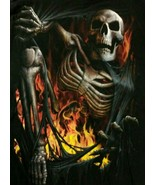 Spiral Direct Skull Skeleton Escaping Hell Fire Black T-shirt Size L - $20.00