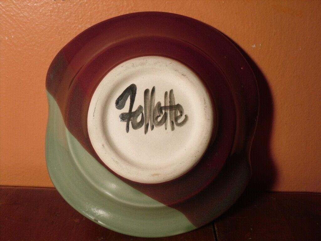 Follette Art Pottery Ikebana Stem Vase Flower Bowl