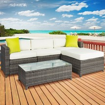 5PC Outdoor Patio Sofa Set Sectional Furniture PE Wicker Rattan Deck Cou... - £560.02 GBP