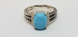 David Yurman Turquoise Petite Wheaton Ring with Diamonds, Ring size 6 - $212.85