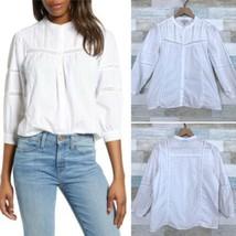 Lucky Brand Poplin Peasant Button Down Shirt White  Western Prairie Wome... - $36.62