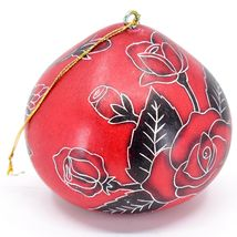 Handcrafted Carved Gourd Art Red Rose Roses Floral Ornament Made in Peru image 4