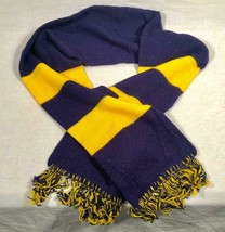 "VINTAGE 60"" WOOL BLUE AND YELLOW SKI / WINTER SCARF - $25.73"