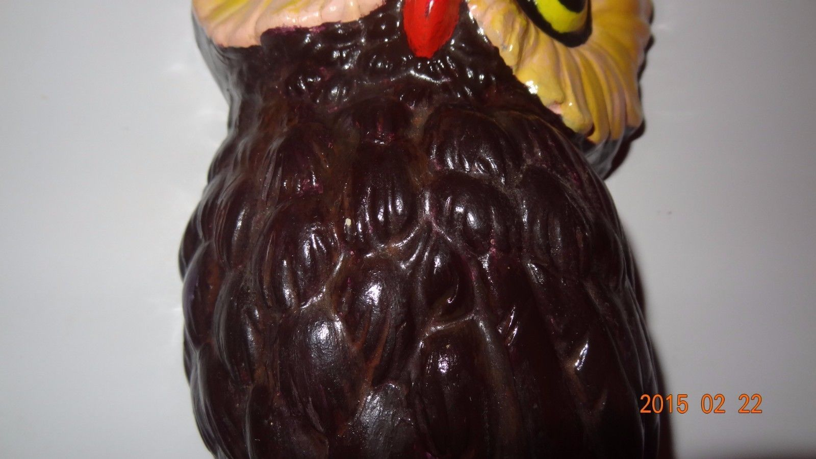 Vintage Owl hand painted Brown 70' Style Sitting on Branch Wall Hanging