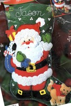 Bucilla Special Delivery Santa Kitten Christmas Holiday Felt Stocking Kit 84593 - $48.95
