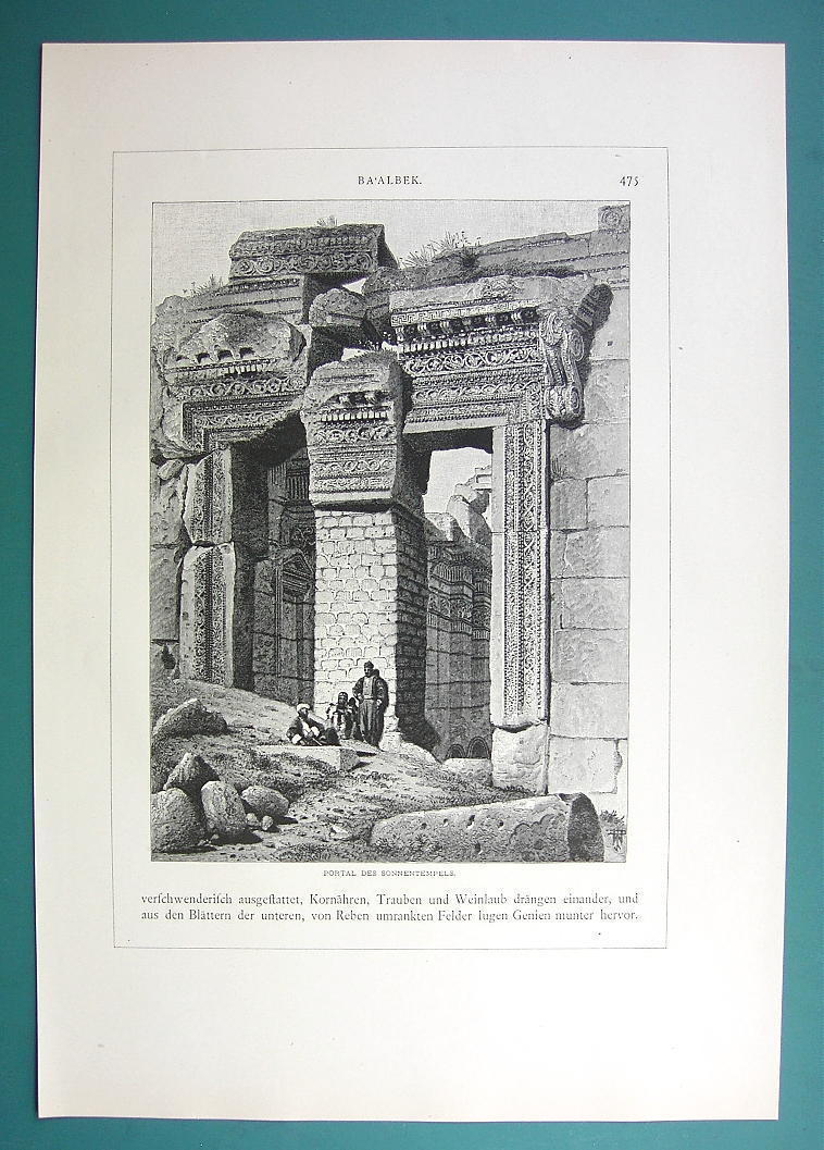 Primary image for HOLY LAND Lebanon Gateway to Temple of Sun - 1883 German Engraving