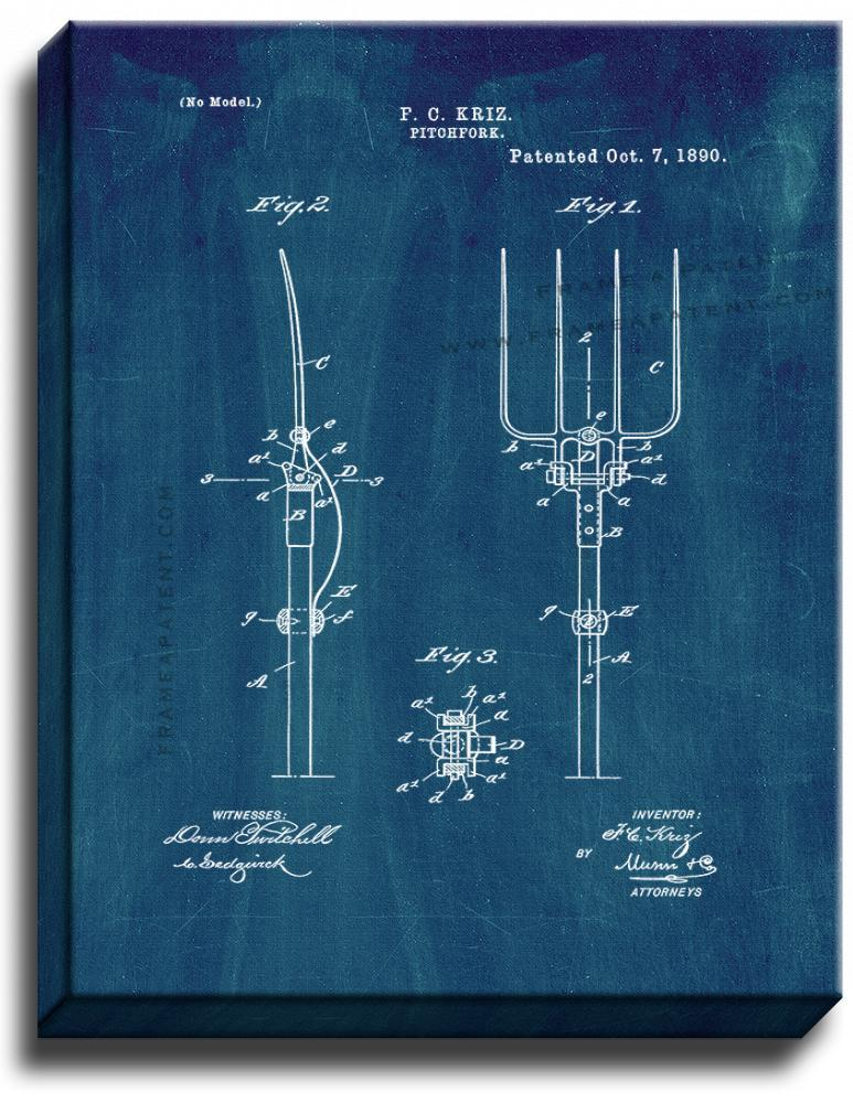 Primary image for Pitchfork Patent Print Midnight Blue on Canvas