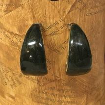 VTG 80s Gold Tone/Dark Green Enameled C Open Hoop Curved Chunky Pierced Earrings - $14.00