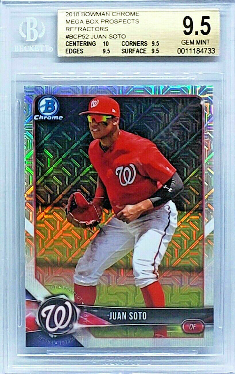 Primary image for HOT!  BGS 9.5! JUAN SOTO ROOKIE! MEGA BOX REFRACTOR 2018 BOWMAN CHROME #BCP52