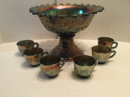 Antique Fenton Carnival Glass Orange Tree Blue Flared Punch Bowl W/Base & 6 Cups - $267.00