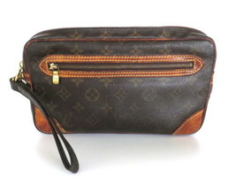 Authentic LOUIS VUITTON Monogram Canvas Leather Marly Dragonne GM Clutch Bag - $209.09