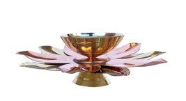 "Oil Lamp Diwali Brass & Copper Lotus Shape Diya Puja Hindu Pooja Article 5"" - $19.91"