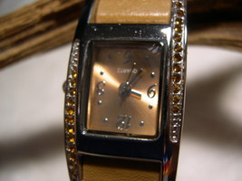 "L01, Ladies Watch, Crystal Surround, 8.5"" Taupe Band, wb - $9.99"