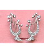 VINTAGE 1ctw DIAMOND GREEK LYRE HARP MUSICAL PLATINUM STUD HUGGIE EARRIN... - $3,028.41