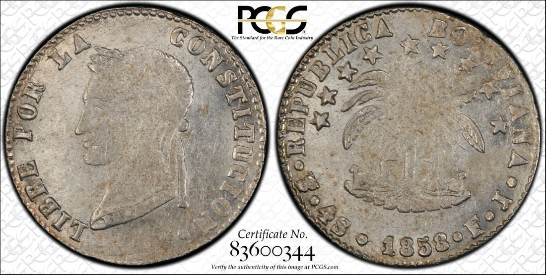 1858-PTS Bolivia 4 Soles PCGS MS60 Lot#G972 Silver! Nice UNC Example!