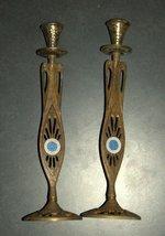 Judaica Vintage Shabbat Candlesticks Candle Holder Israel Tamar Signed 1960's