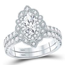 14kt White Gold Marquise Diamond Bridal Wedding Engagement Ring Set 2.00 Ctw - $4,998.00