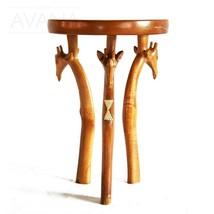 African Hand Carved Wooden 3-legged Giraffe-Head End Table H43cmD30cm - $290.00