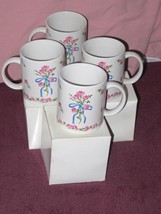 4 NIB Vintage 1991 Roses 24.Flowers Inc Balloons FIB Coffee Mugs #36574 ... - $29.69