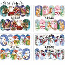 BAHYHAQ- 12 Sheets Full Wrap Nail Art Water Decals Stickers Christmas Sn... - $1.53