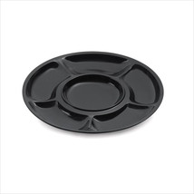 Milano 14 inch 6 Compartment Plate Black Melamine/Case of 12 - $298.47