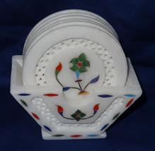 Marble Coaster Set Grill Work Handmade Pietra Dura inlay Mosaic Home Decor Art - $60.76