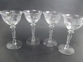 Tiffin Franciscan Cocktail Glasses Set of 4 Cut 405 Stem 15037 - $27.72