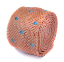 Skinny pale pink & light blue polka spot knitted tie by Frederick Thomas... - $18.25