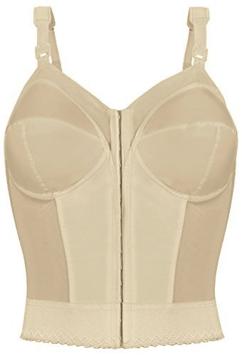 Exquisite Form Women's Front Close Longline Bra #5107530, Beige, 44 D