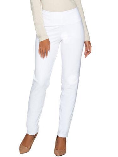 WOMEN WITH CONTROL Size M Tummy Control Slim Leg Ankle Pants WHITE