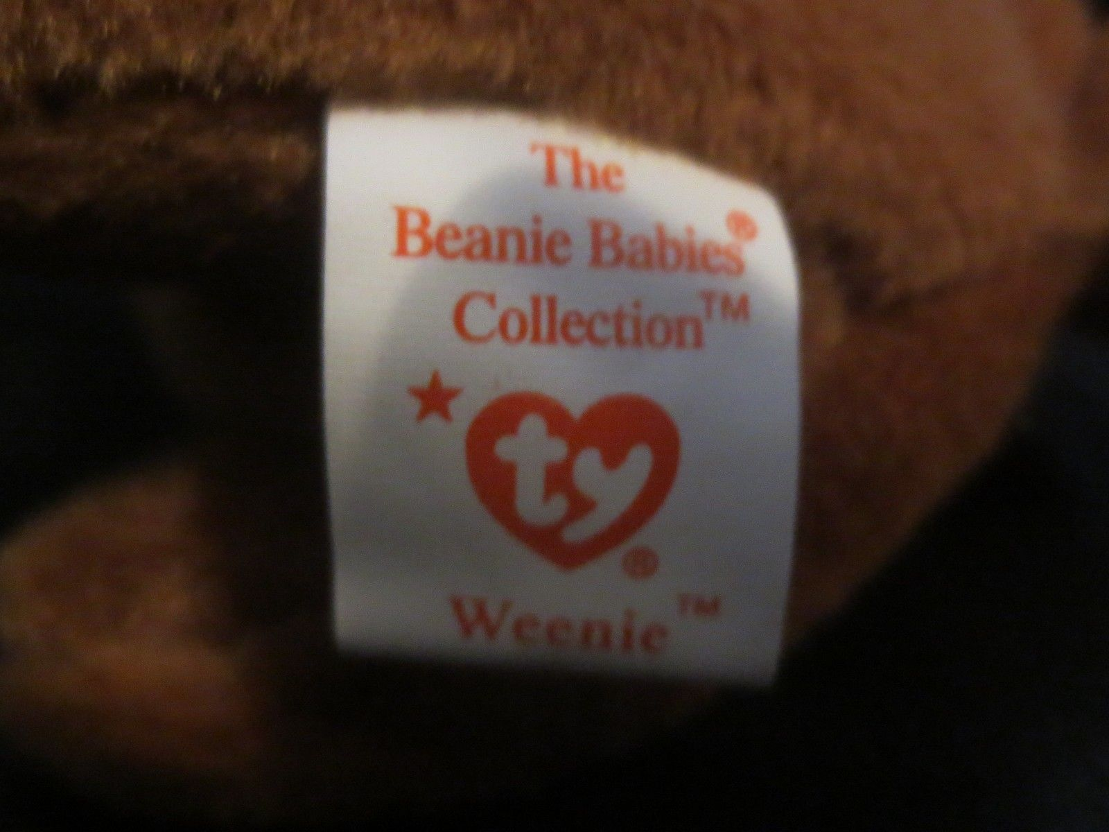 Ty Beanie Baby Weenie the Red Dachshund 4th Gen. Hang Tag 3rd Gen. Tush Tag