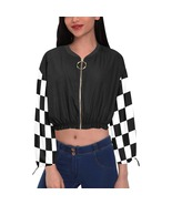 Black and White Checkers Women's Chiffon Cropped Jacket - $59.98