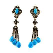 Victorian 3.88ct Rose Cut Diamond Turquoise Ladies Wedding Earrings - $754.49