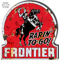 Frontier Gas and Motor Oil Reproduction Sign Garage Shop Art 23.5x24 - $59.40