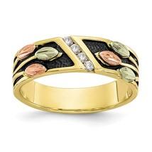 10K Tri-Color Black Hills Gold Antiqued Diamond Ring - $439.99
