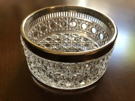 VTG Mid-Century Clear Crystal glass round bowl silver plate metal rim 4.... - $19.31