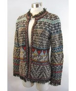 M PERUVIAN CONNECTION Gabrielle Alpaca Tribal Knit Fringe Sweater Jacket - $138.59