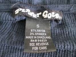 Ladies dark blue long sleeve thermal shirt Size S by Planet Gold MKARL191 - $8.60