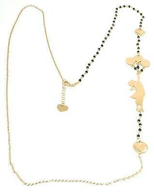 Necklace, 90 cm, Silver 925, Alice, Balloons, Hearts, Spinel Black, le Favole