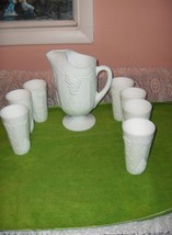 8 Pc Vintage Milk Glass Indiana Colony Harvest Grapes Iced Tea Pitcher Tumblers - $113.85