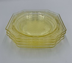 4 Vintage Federal Glass Madrid Platter Amber/Yellow Depression Sm. Plate... - $29.69